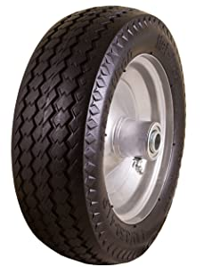 "Marathon 4.10/3.50-4"" Flat Free, Hand Truck / All-Purpose Utility Tire on Wheel, 2.25"" Offset Hub, 3/4"" Bearings"