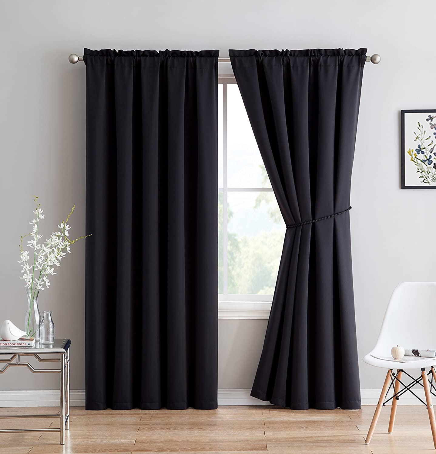 Erica - Premium Rod Pocket Blackout Curtains With Tiebacks - 2 Panels Black