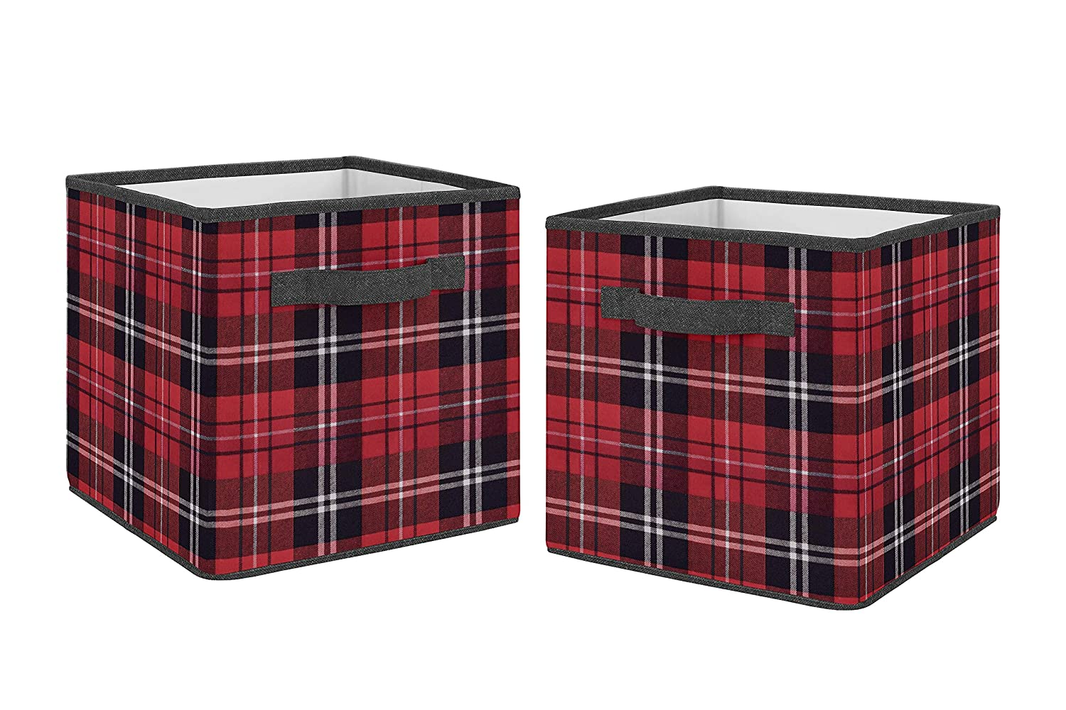 Sweet Jojo Designs Red and Black Woodland Plaid Flannel Organizer Storage Bins for Rustic Patch Collection - Set of 2