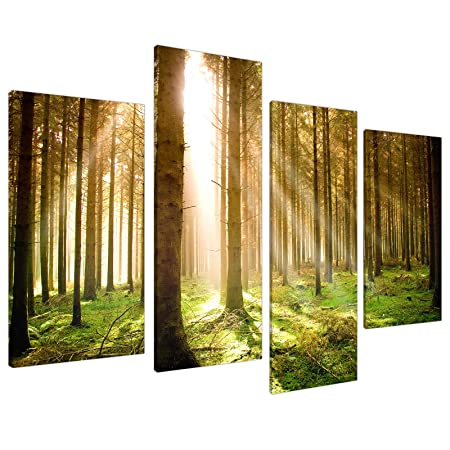 Extra Large Green Trees Canvas Wall Art Pictures 130cm Prints Set ...
