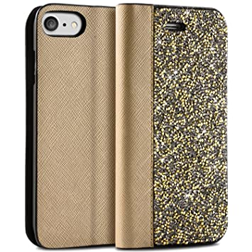 timeless design 7e6ac 773a8 iPhone 7 Flip Case, BlingZ.® 3D Swarovski Elements Crystal Bling Bling Flip  Leather Phone Case Cover for iPhone 7 - Champaign Gold