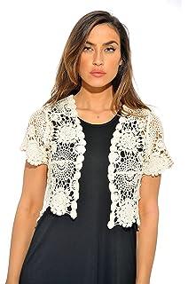 516c153994 Aibrou Womens Short Sleeve Bolero Cardigans Lace Shrugs for Wedding ...