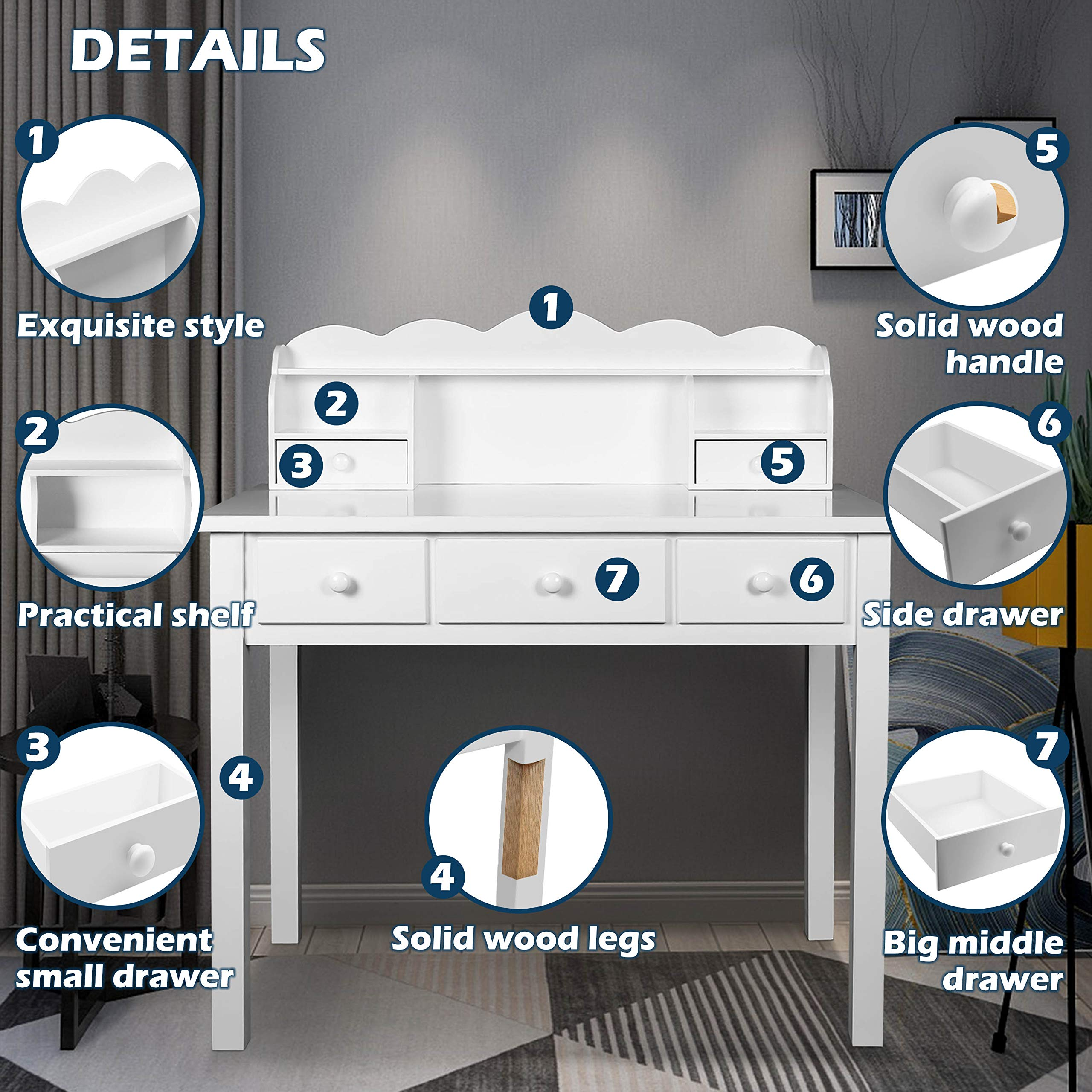 Home Office Furniture Writing Desk,Computer Work Station with Detachable Hutch,5 Drawers(White) by FUNKOCO (Image #2)