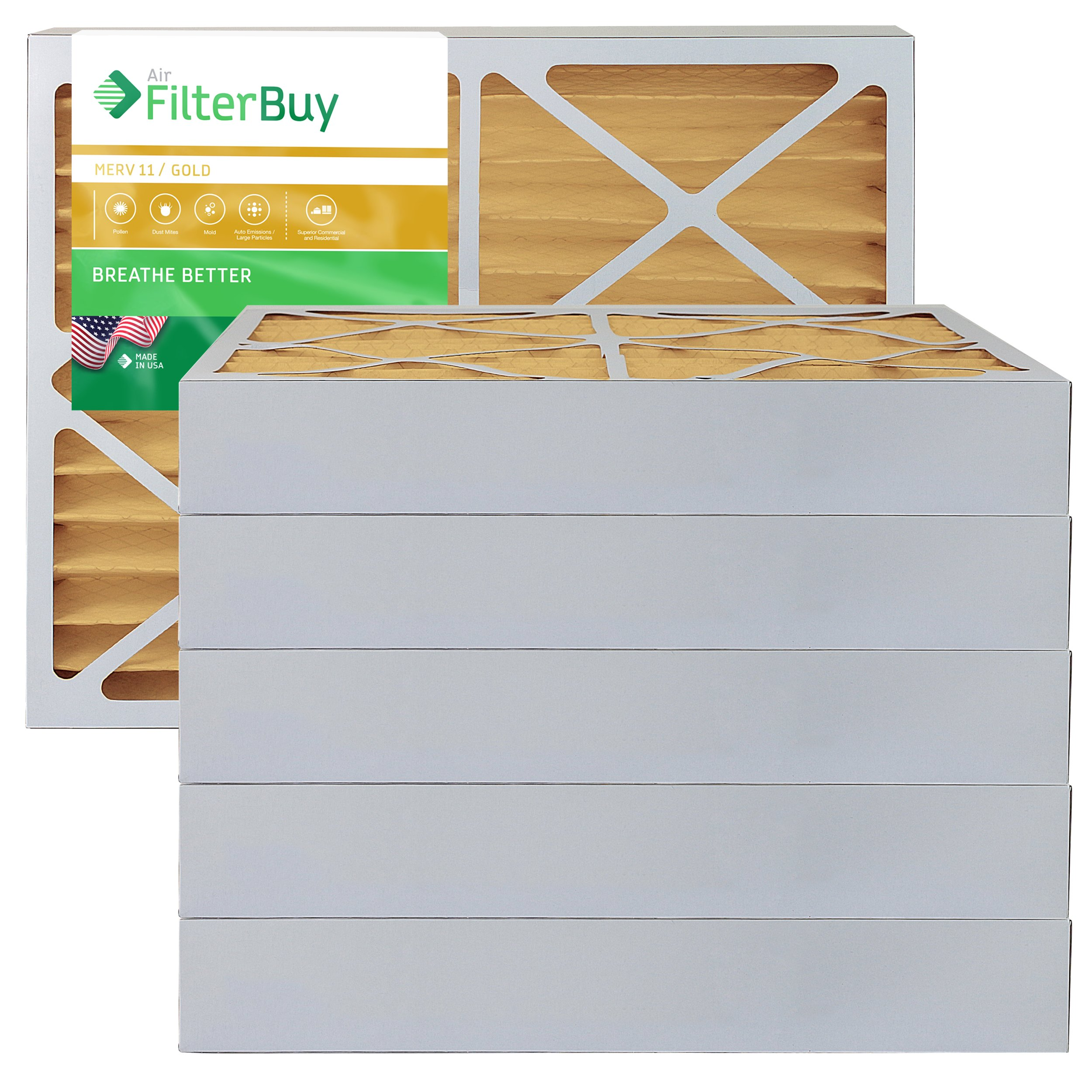 AFB Gold MERV 11 25x25x4 Pleated AC Furnace Air Filter. Pack of 6 Filters. 100% produced in the USA.