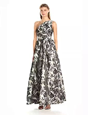 4ce07127080e Carmen Marc Valvo Infusion Women's One Shoulder Printed Taffeta Ball Gown,  Grey/Silver,