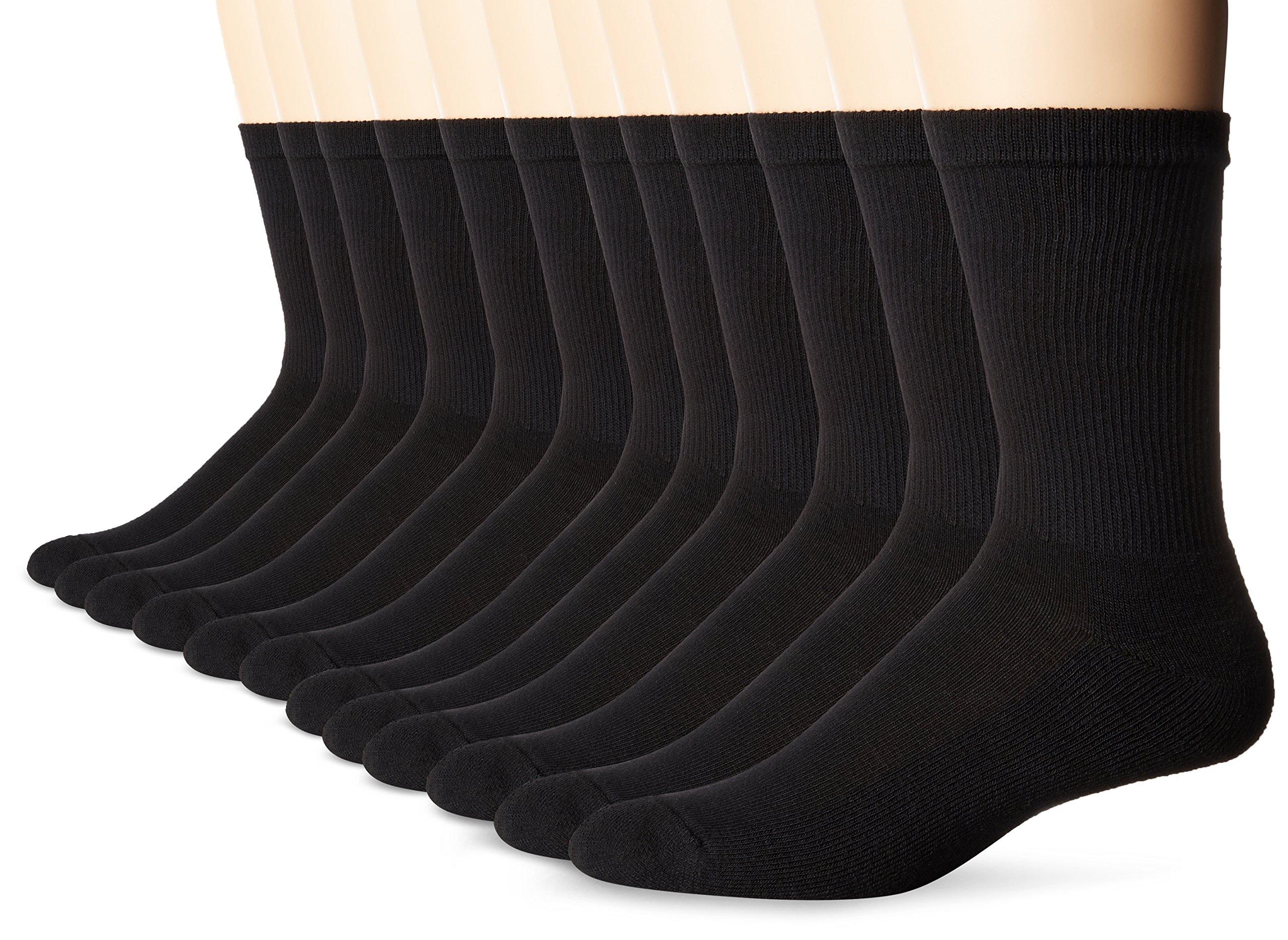 Hanes Men's Active Cool 12-Pack Crew Socks, Black, Sock Size: 10-13 Shoe Size: 6-12