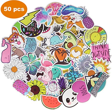 50pcs Cartoon Cute Luggage Laptop Suitcase Waterproof Stickers Notebook Decals