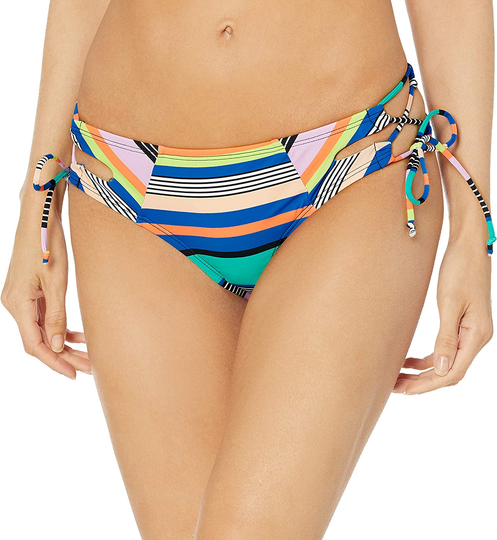 HOBIE Medium Shirred Side Hipster Bikini Swimsuit Bottom HSS4SD96 Blue Floral