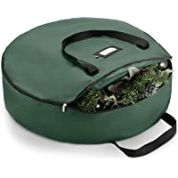 """ZOBER Christmas Wreath Storage Bag - Premium 600D Oxford Tear Resistant Fabric Bag for Artificial Christmas Wreath with Zipper Featuring Transparent Card Slot for Labeling   36"""" x 36"""" x 8"""""""