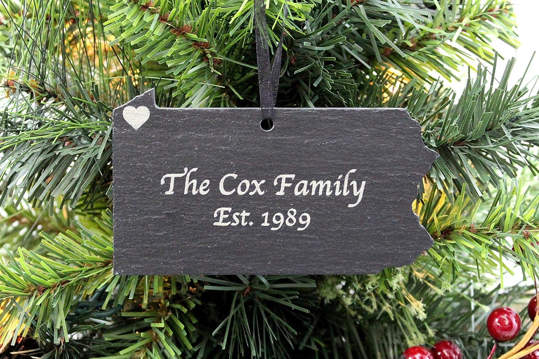 Amazon Com Custom Pennsylvania Slate Christmas Ornament