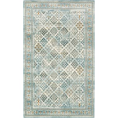 Area Rug Vintage Light Blue 5' x 8' FT St. John Collection Rugs - Inspired Overdyed Carpet