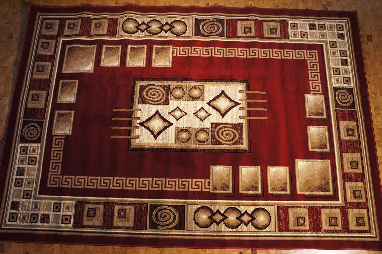 Karatcarpet Moderner Teppich Kurzflor Kollektion Gold 364 22 Rot, Braun, Seidenglanz, Muster  Bordüre. (300x400 cm)