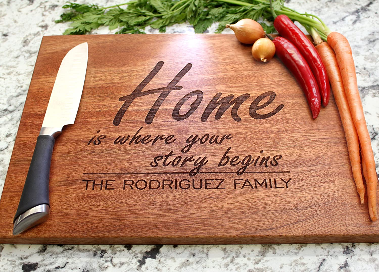Home is Where Your Story Begins Personalized Cutting Board Engraved Cutting Board Custom Cutting Board Anniversary Gift Engagement W-031GB Wedding Gift Housewarming Gift