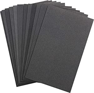 Abrasive Dry Wet Waterproof Sandpaper Sheets Assorted Grit of 400/600/ 800/1000/ 1200/1500 for Furniture, Hobbies and Home Improvement, 12 Sheets (2.8 x 4.5 Inch)