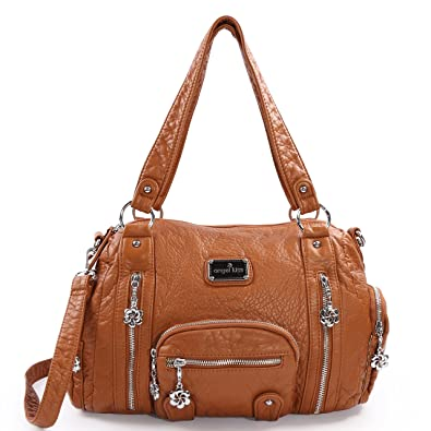 8e8c4b8ff Purses and Handbags - Angel kiss Women s Tote Handbag Water Resistant  Washed PU Leather Shoulder Messenger