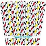 Mickey Mouse Inspired Paper Straws - Mouse Ears Stripe - Red Black Yellow White - 100 Pack - Outside the Box Papers…