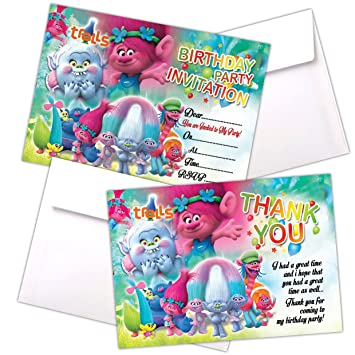 20 X Trolls Go Kids Birthday Party Invitations With C6 Envelopes Invites Cards Girls Boys Children Party Cards 200gsm Gloss Card With Thank