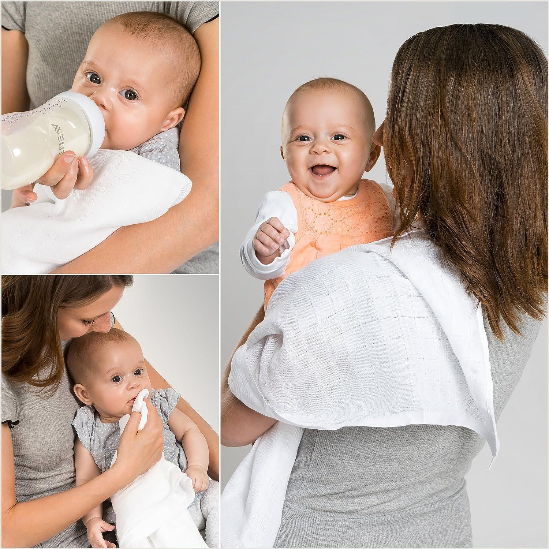 handmade in EU Spuckt/ücher Premium Baby Mullwindeln Musselin Tuch Blau, wei/ß Mullt/ücher 5-er Pack Geschenk-Set f/ür Baby