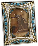 """Decorative Western Picture Frame 4"""" X 6"""" Photo - Faux Turquoise - Gold & Silver Accents"""