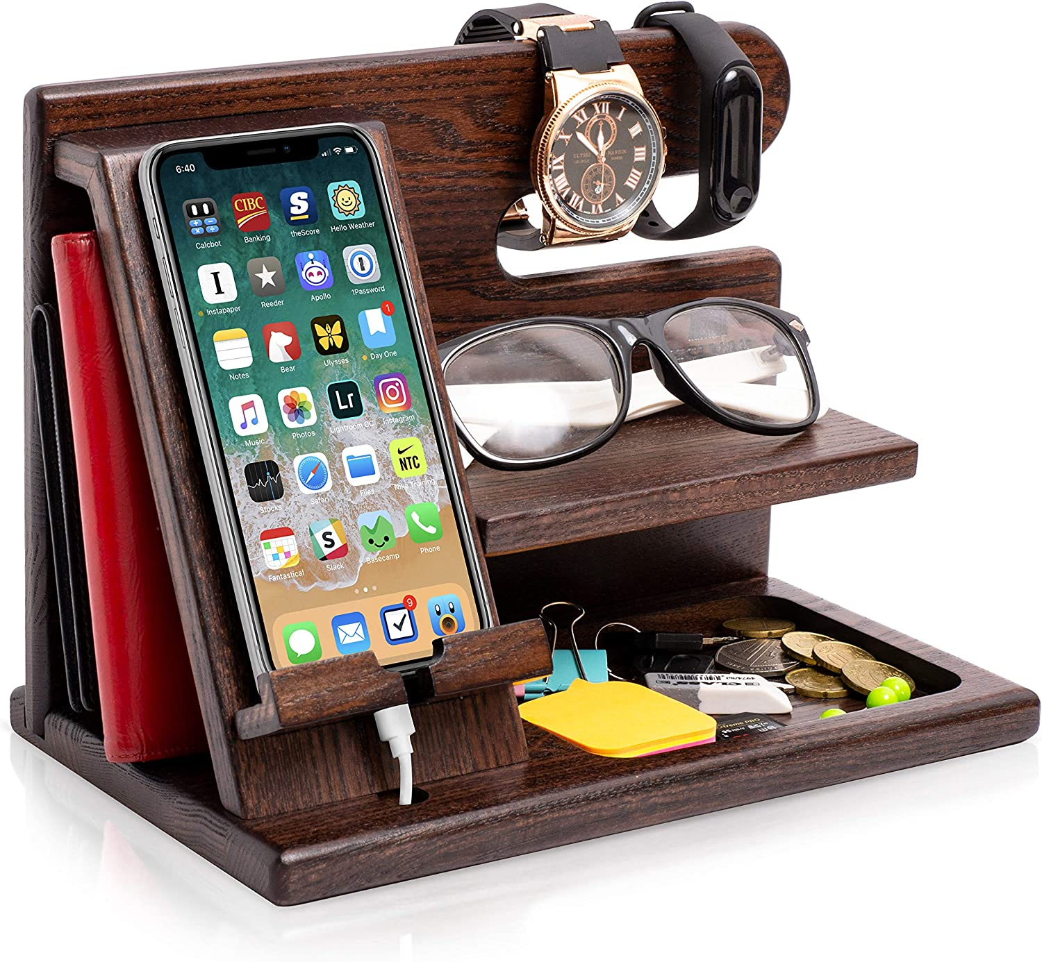 TESLYAR Wood Phone Docking Station