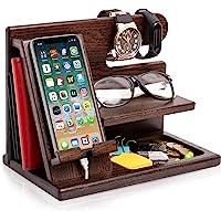 Wood Phone Docking Station Ash Key Holder Wallet Stand Watch Organizer Men Gift Husband Wife Anniversary Dad Birthday…