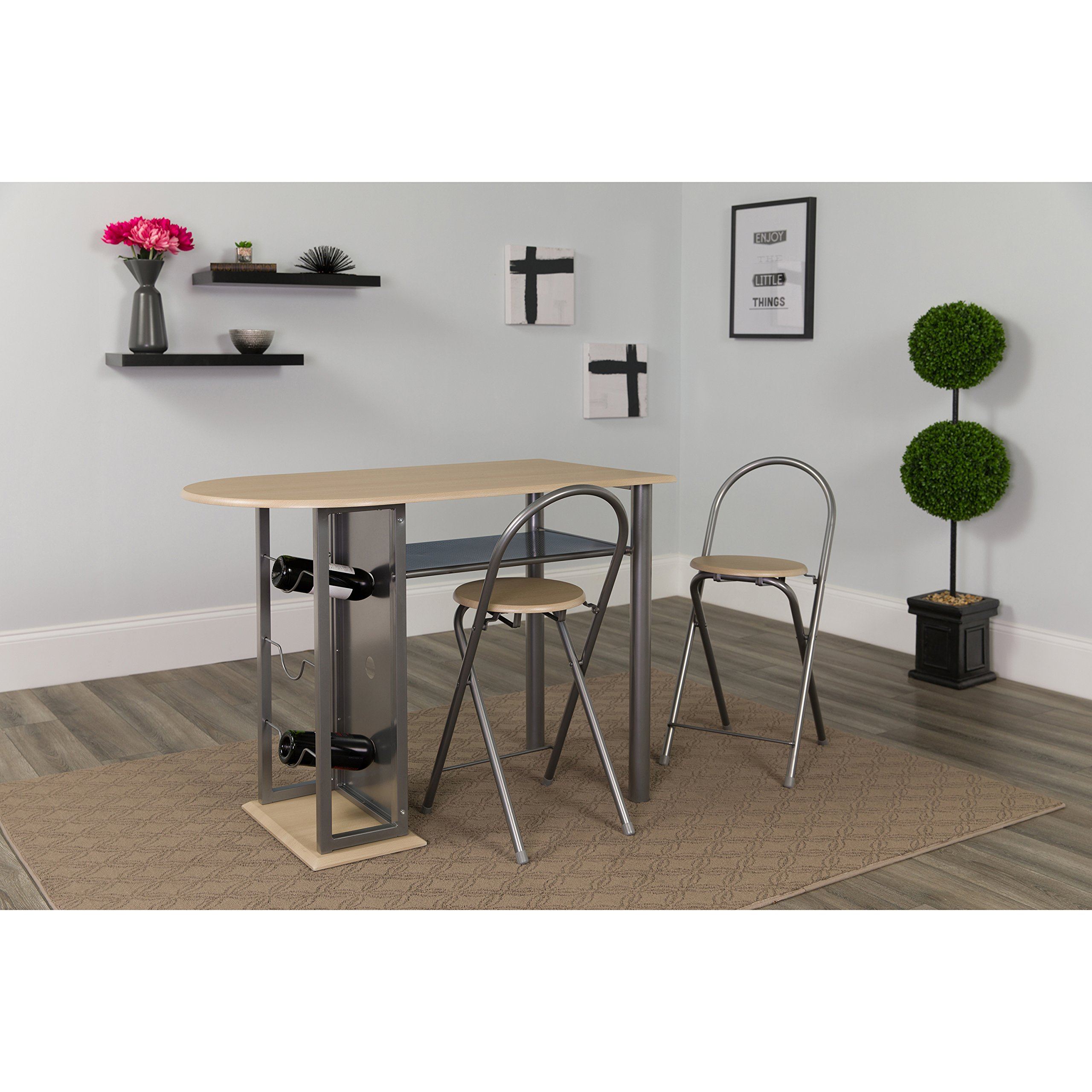 Flash Furniture Grammercy 3 Piece Natural Finish Bistro Set with Wine Rack and Folding Chairs