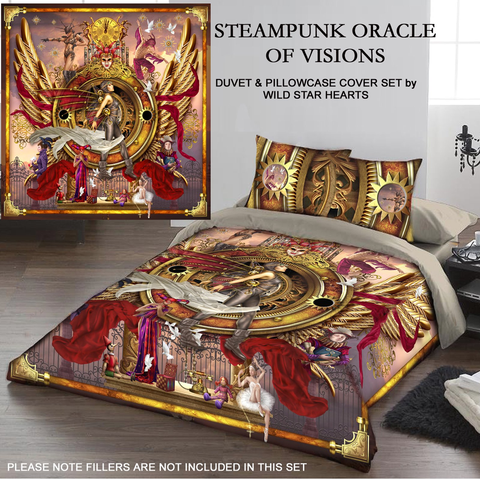 STEAMPUNK ORACLE OF VISION Duvet & Pillows Case Covers Set for Queensize Bed by Wild Star Home