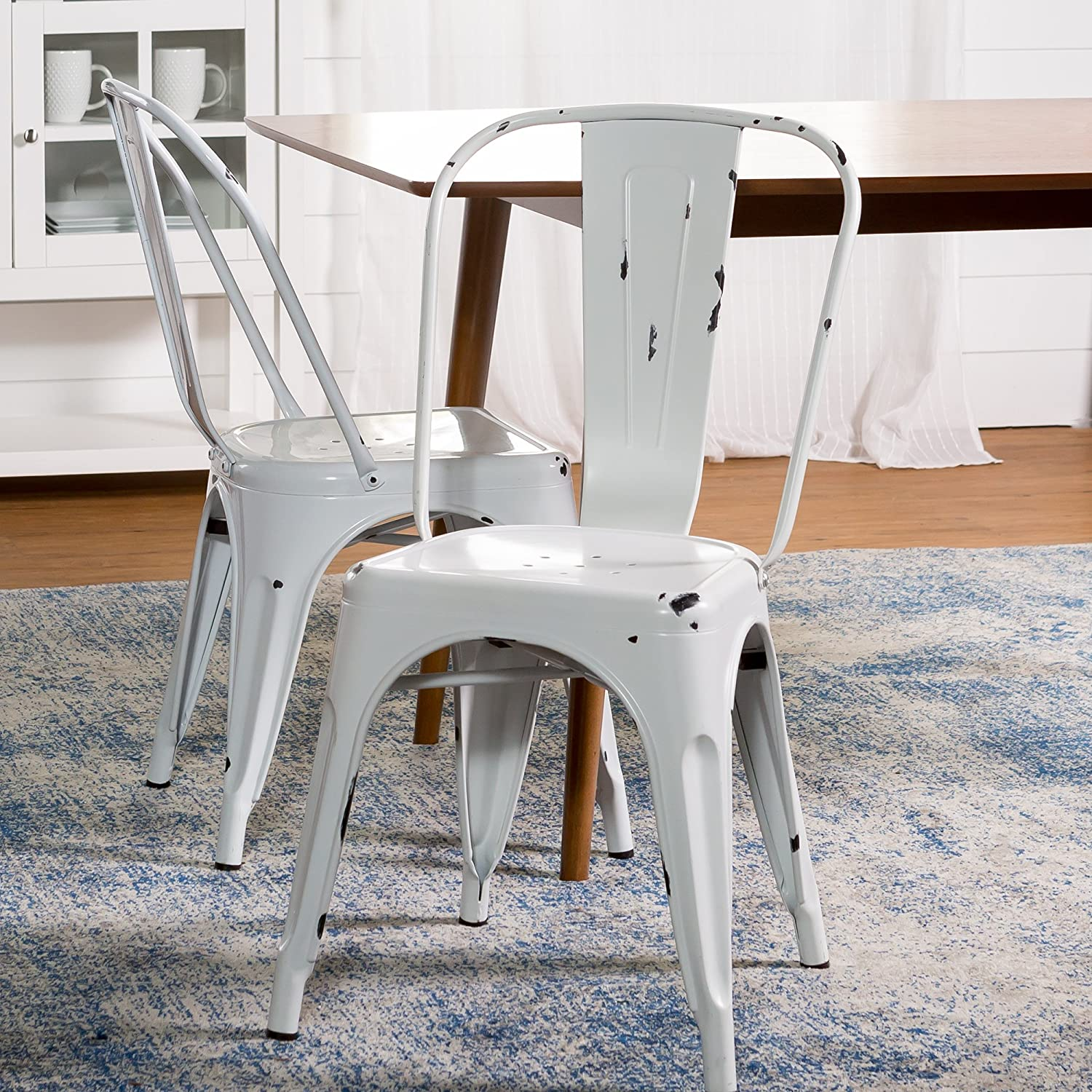 Amazon com we furniture stackable metal cafe bistro chair antique white kitchen dining