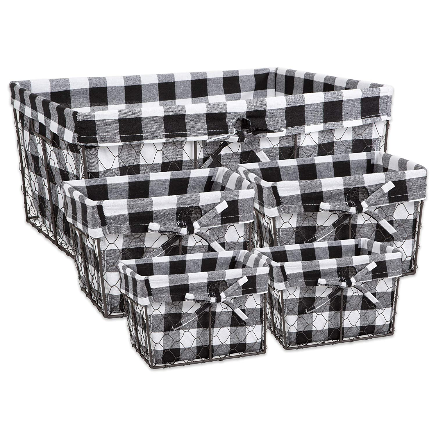 DII Z02319 Vintage Food Safe Metal Chicken Wire Storage Baskets with Removable Fabric Liner for Home Décor or Kitchen Use Set of 5 Black & White Check