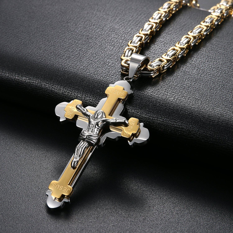 Oidea Uomo Croce Collana con ciondolo oro argento Vintage in acciaio inox Ges/ù Crocifisso Ciondolo con catena Re catene 55/cm