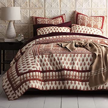 DaDa Bedding Bohemian Bedspread Set   Moroccan Paisley Cotton Quilted  Coverlet   Bright Vibrant Multi Colorful
