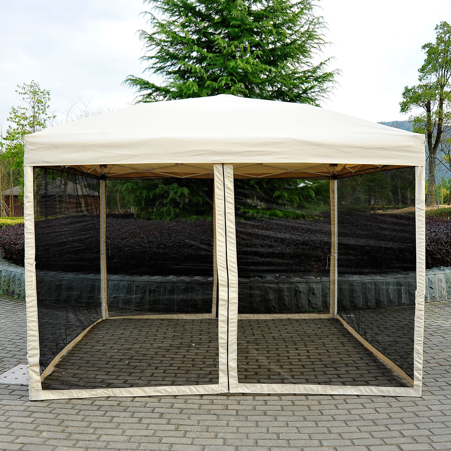 Amazon Outsunny Easy Pop Up Canopy Tent with Mesh Side Walls