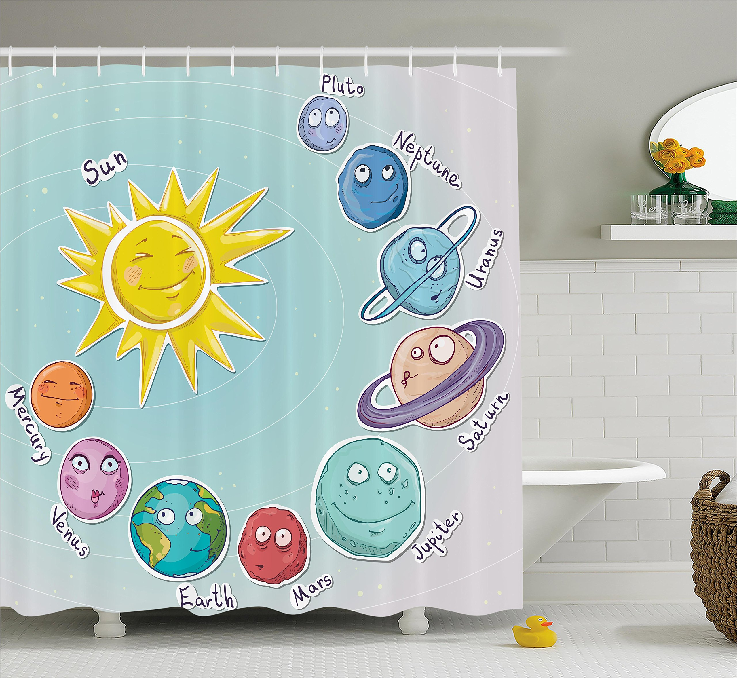 Ambesonne Space Shower Curtain, Cute Cartoon Sun and Planets of Solar System Fun Celestial Chart Baby Kids Nursery Theme, Fabric Bathroom Decor Set with Hooks, 75 inches Long, Multi