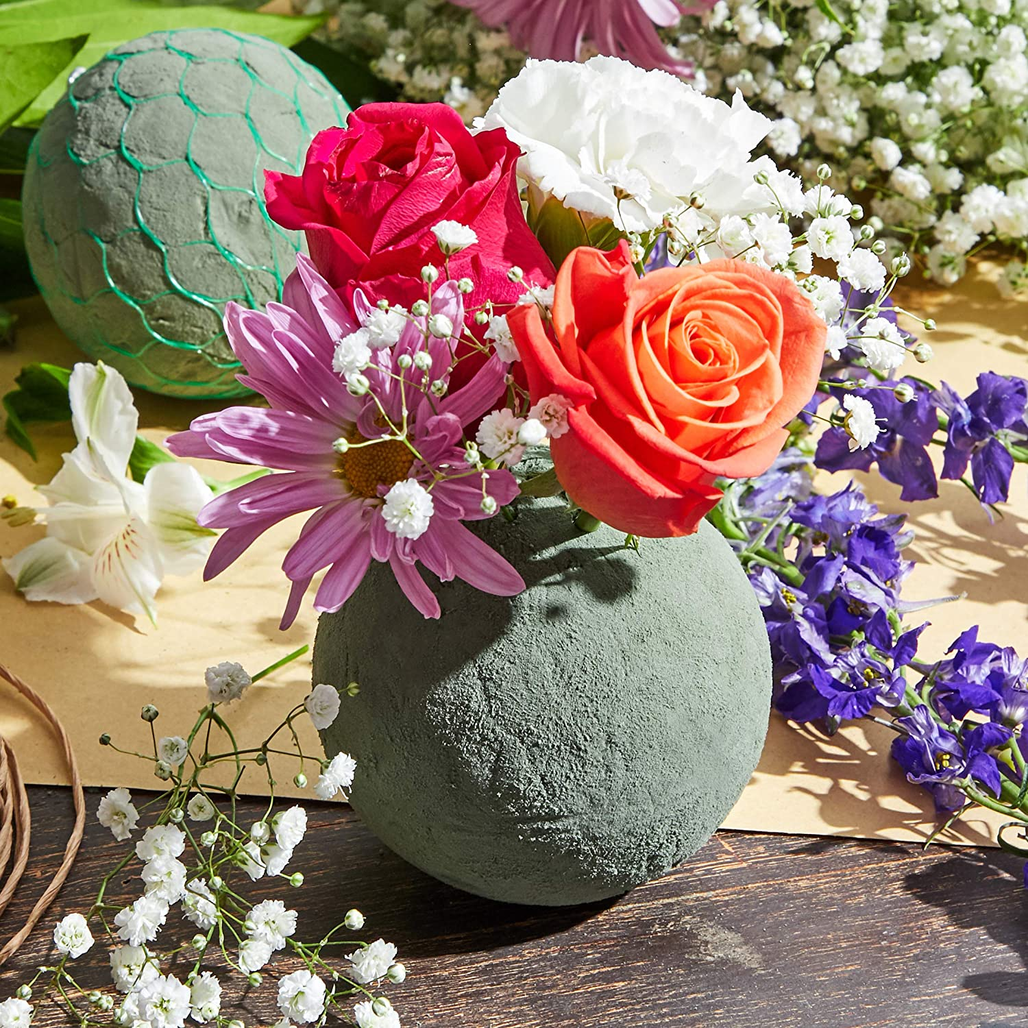 4.5 Inches Bright Creations 6-Pack Floral Wet Foam Sphere for Fresh Flowers
