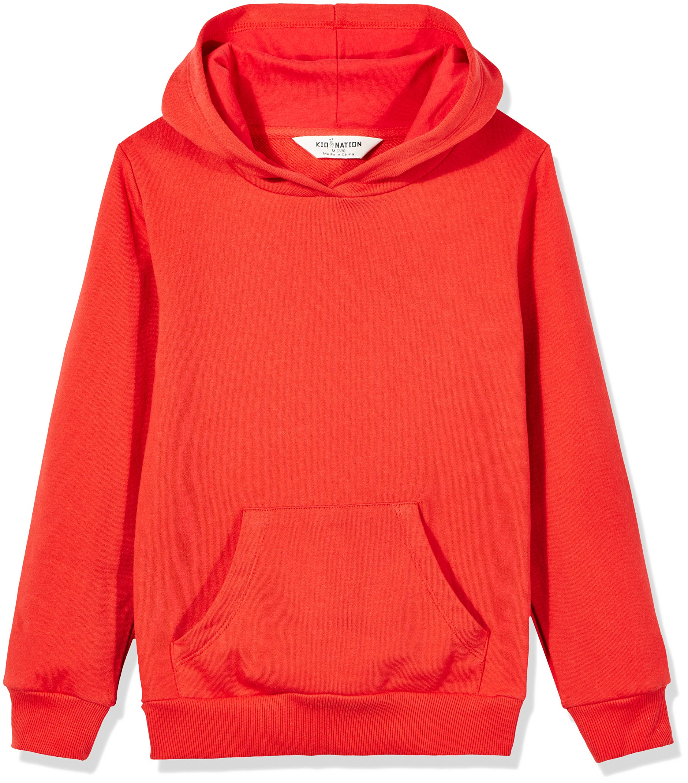 Kid Nation Kids' French Terry Oversized Solid Hoodie Sweatshirt for Boys Or Girls XL Red