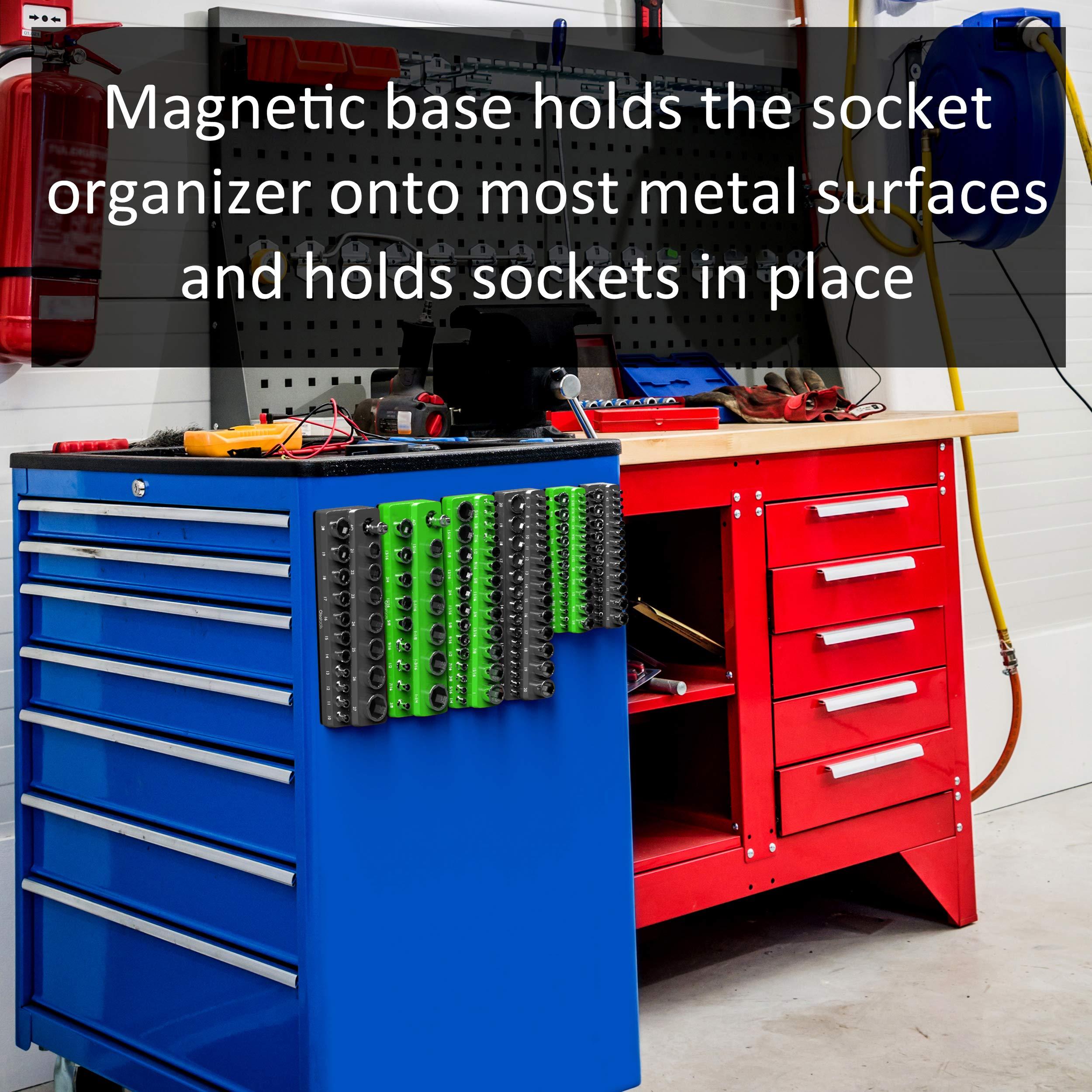 Olsa Tools Magnetic Socket Organizer   3 Piece Socket Holder Kit   1/2-inch, 3/8-inch, 1/4-inch Drive   Metric Black   Holds 75 Sockets   Premium Quality Tools Organizer