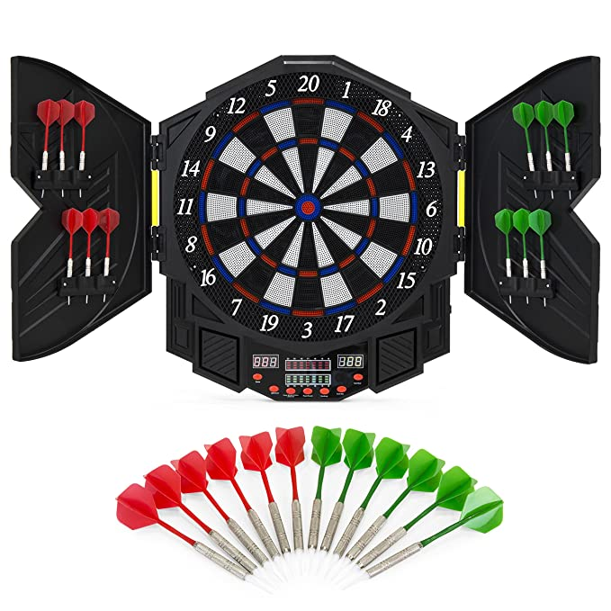 Best Choice Products Electronic Dartboard Sports Game Set w/Cabinet, 12 Darts, LCD Display - Multicolor