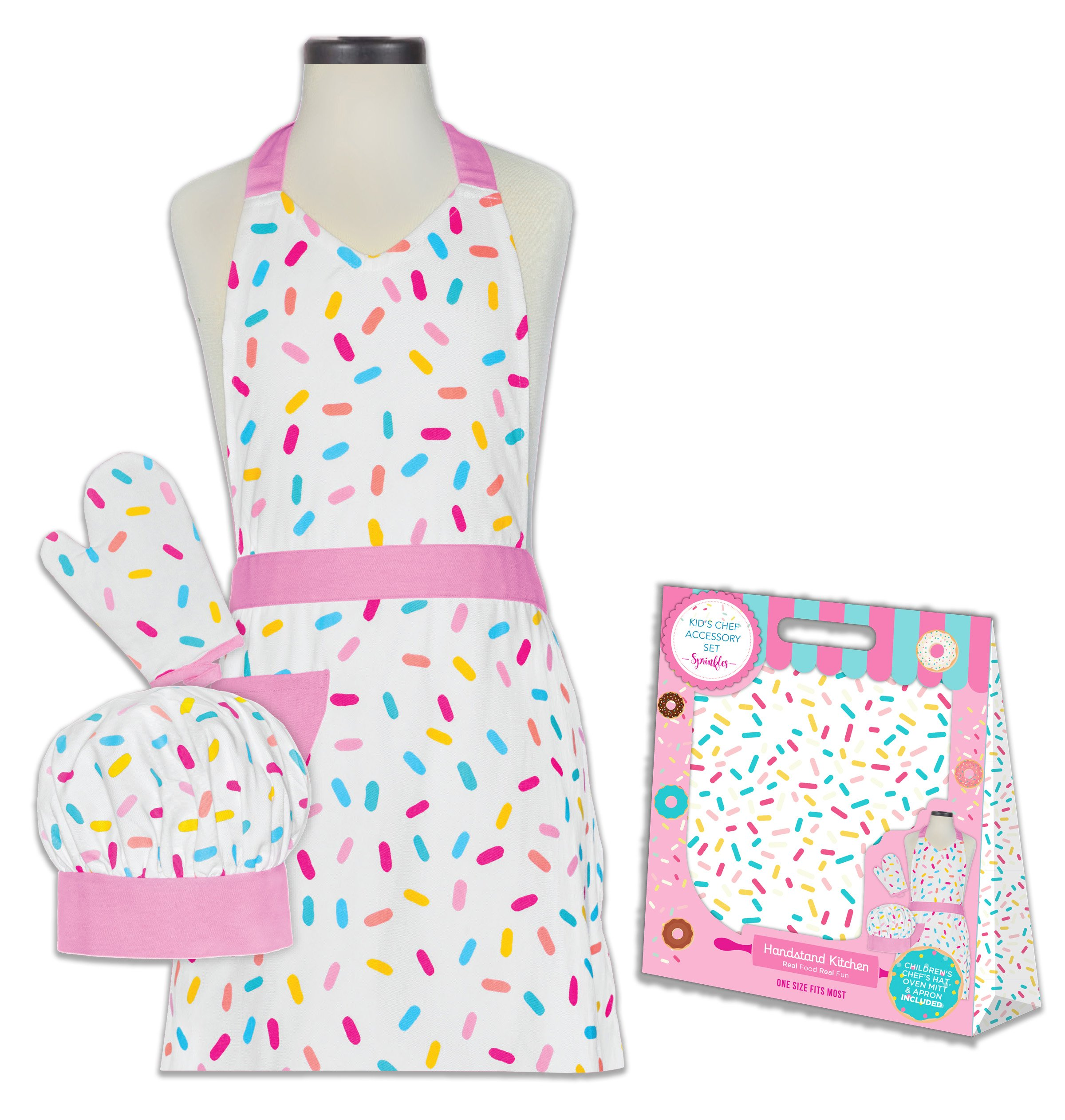 Handstand Kitchen Child's Sprinkles 100% Cotton Apron, Mitt and Chef's Hat Gift Set