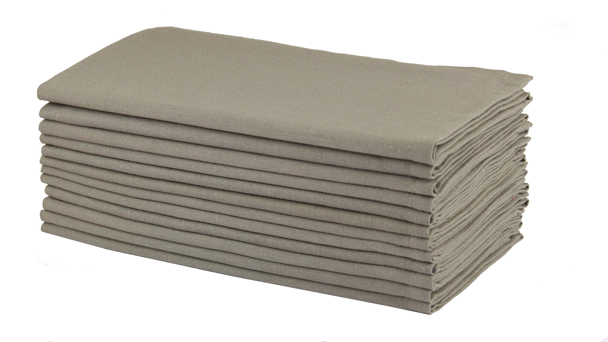 Cotton Craft Napkins, 12 Pack Oversized Dinner Napkins 20x20 Stone, 100% Cotton, Tailored with Mitered corners and a generous hem, Napkins are 38% larger than standard size napkins by Cotton Craft
