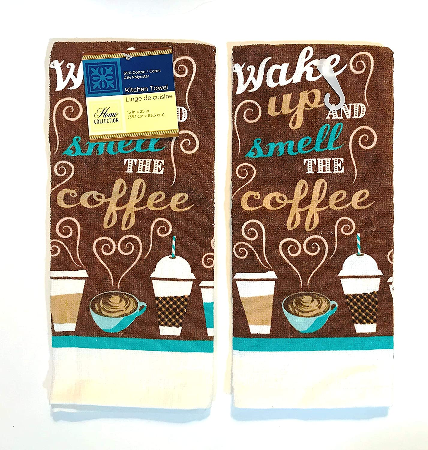Home Collection 2 Coffee Theme Kitchen Towels (Wake Up and Smell The Coffee)
