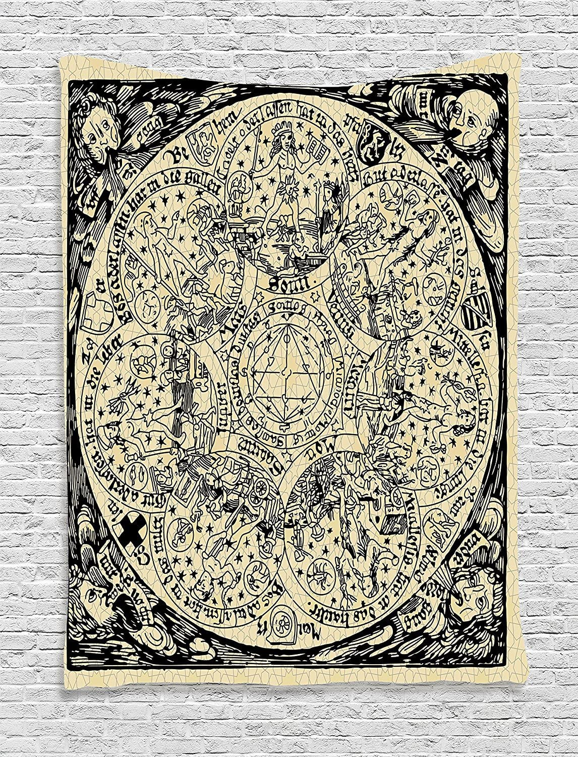 Ambesonne Astrology Tapestry, Series of Mystic Esoteric Old Map with Man with Vintages, Wall Hanging for Bedroom Living Room Dorm Decor, 40