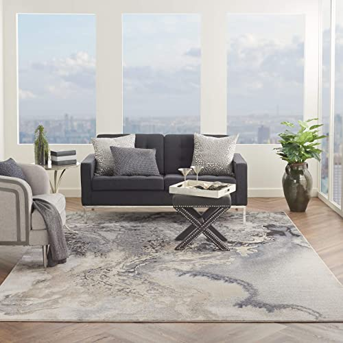 Nourison Maxell Modern Contemporary Grey Polyester Area Rug 9 Feet 3 Inches by 12 Feet 9 Inches, 9 3 x 12 9