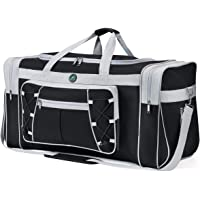 "Travel Duffel Bag 65L Foldable Weekender Overnight Bag 26"" Lightweight Oxford Cloth Large Gym Luggage Duffel Water-Proof & Tear Resistant for Men & Women (Black White)"
