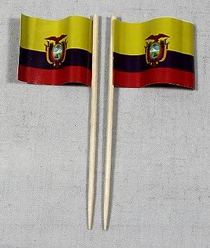 Party-palillos de la bandera de Ecuador banderitas de papel profesional 50 pcs 8 cm impresión offset de producción propia selección gigante: Amazon.es: Juguetes y juegos