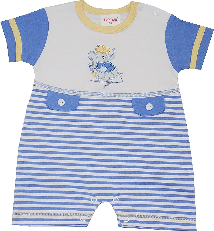 Schnizler Unisex Baby Spieler Kurzoverall Baby Elefant Beim Spielen Gr. 56 Blau (original 900) Playshoes GmbH 16531820