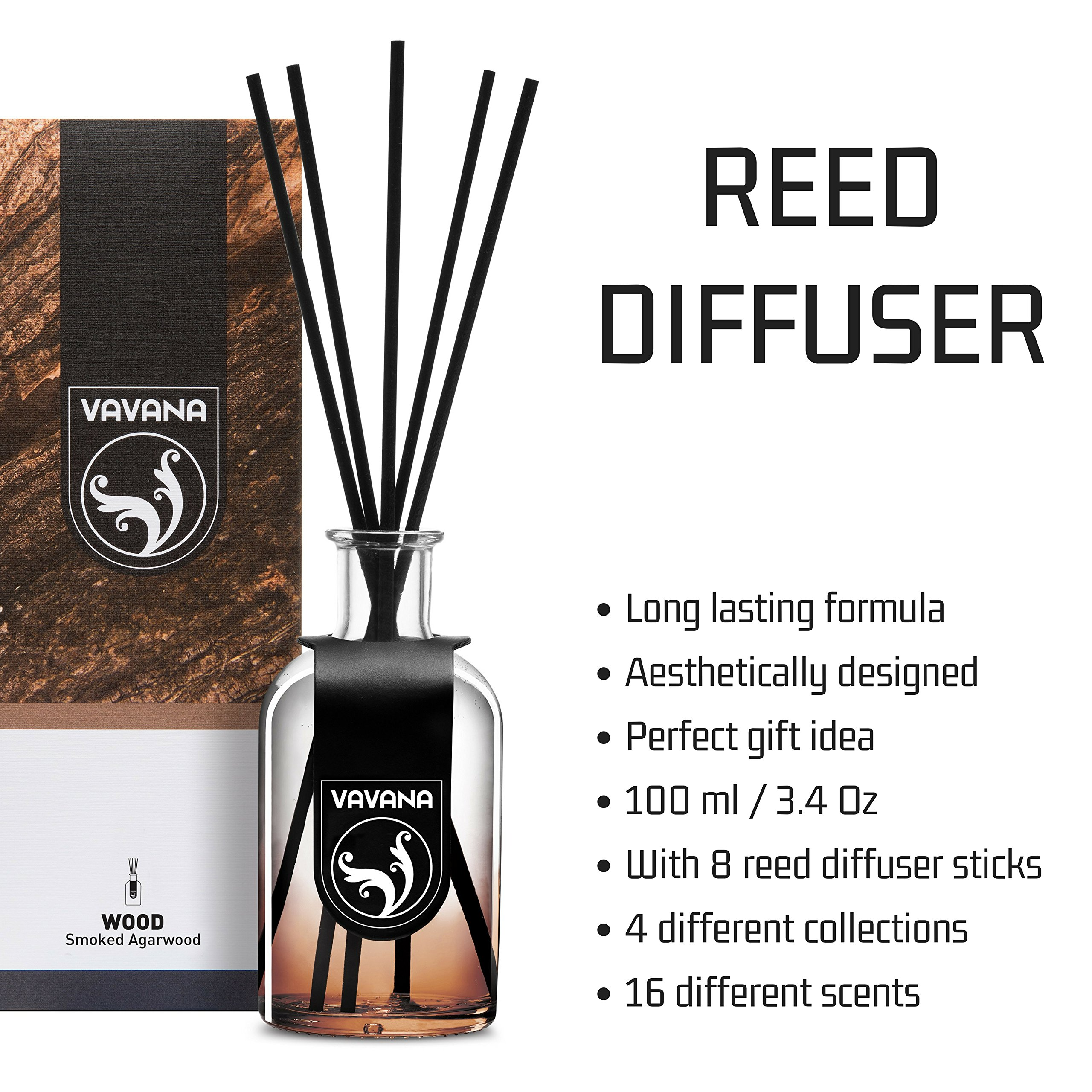 VAVANA Aromatherapy Diffuser Sticks   Reed Diffuser Set   Aromatic Home Fragrance Set   Essential Oil Diffuser Sticks, Made of Natural Scented Oils Blend   100 ML/3.4 OZ - 6 Pack (Smoked A.Wood) by vavana (Image #6)