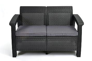 Lounge sofa rattan  Amazon.de: Keter Lounge Sofa, Rattan, Korfu Rattan 2-Sitzer Sofa ...