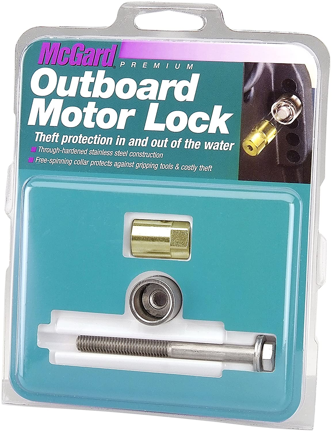 Set of 1 McGard 74049 Marine Single Outboard Motor Lock Set 5//16-18 Thread Size