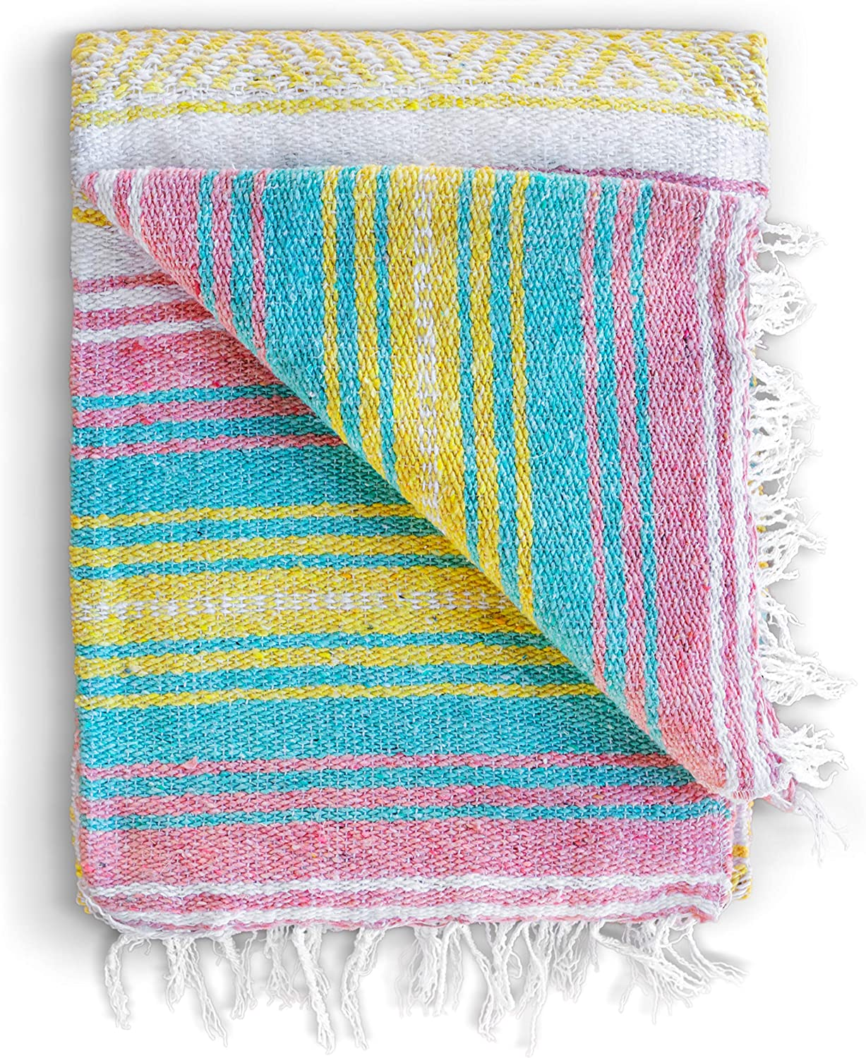 Mexican Blanket, Falsa Blanket | Authentic Hand Woven Blanket, Serape, Yoga Blanket | Perfect Beach Blanket, Navajo Blanket, Camping Blanket, Picnic Blanket, Saddle Blanket, Car Blanket (Sunrise)