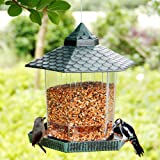 Twinkle Star Wild Bird Feeder Hanging for Garden Yard Outside Decoration, Hexagon Shaped with Roof, Green
